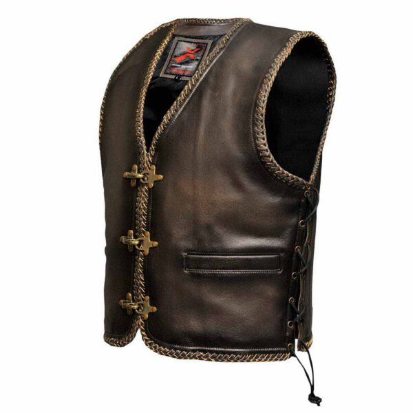 STYLO LEATHER BIKERS WAISTCOAT VEST WITH LACES BROWN