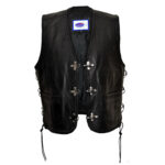 STYLO CL LEATHER BIKERS WAISTCOAT VEST WITH LACES